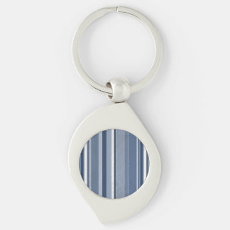 Vertical Blue Stripes Silver-Colored Swirl Key Ring