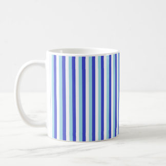 Vertical Blue, White and Pastel Blue Stripes Coffee Mug