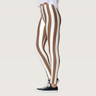 Vertical Brown and White Stripes Leggings