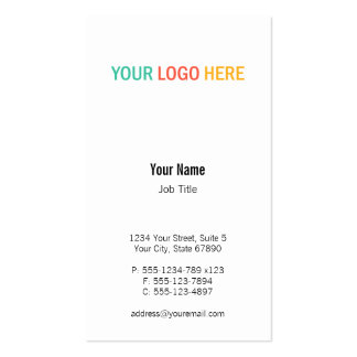 Vertical business logo custom product photo business card