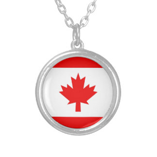 Vertical Canadian Flag Silver Plated Necklace