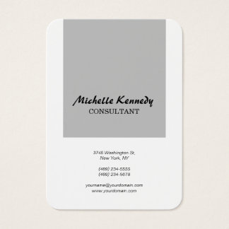 Vertical Chubby Modern Simple Grey White Script Business Card