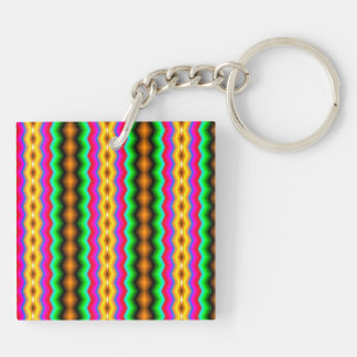 Vertical colorful line pattern keychains