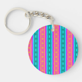 Vertical colorful pattern Double-Sided round acrylic key ring