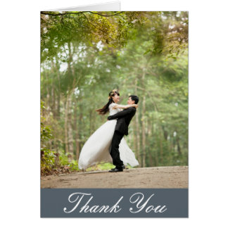 Vertical Custom Wedding Photo Thank You Card
