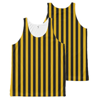 Vertical Gold and Black Stripes All-Over Print Tank Top