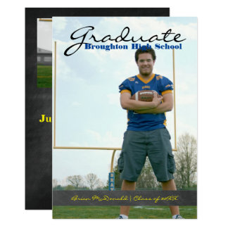 Vertical Graduate Photo - Chalkboard Stripe Card