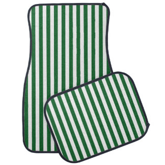 Vertical Green and White Stripes Car Mat
