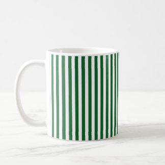 Vertical Green and White Stripes Coffee Mug
