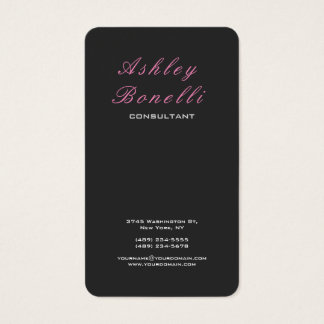 Vertical Grey Pink Classical Feminine Stylish Business Card