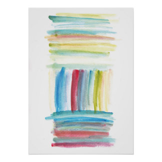 vertical horizontal lines watercolor painting poster