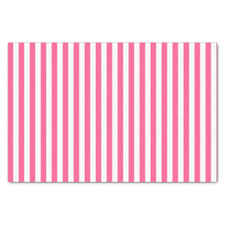 Vertical Hot Pink and White Stripes Tissue Paper