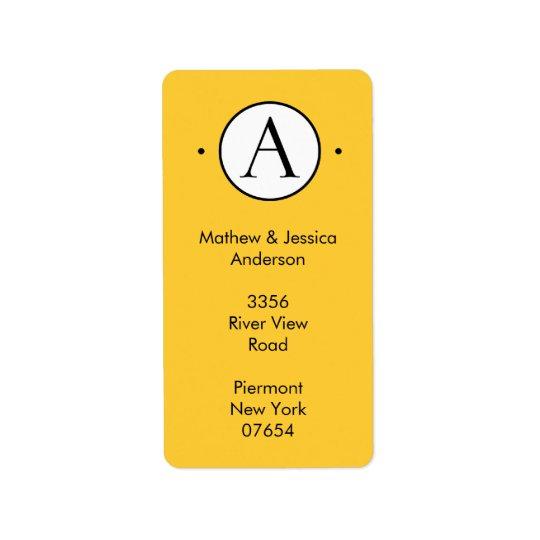 Vertical Letter A  Circle Monogram Address Labels. Address Label
