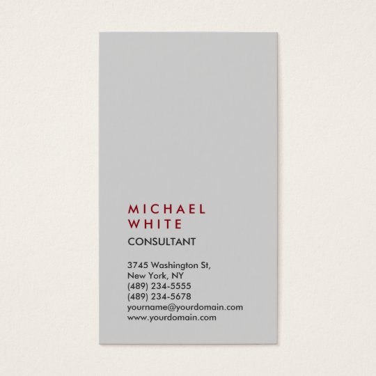 Vertical Light Grey Professional Trendy Business Card