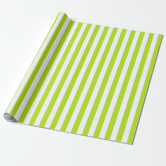 Vertical Lime Green and White Stripes Wrapping Paper