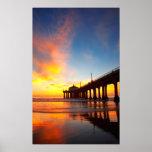 Vertical Manhattan Beach Pier Poster