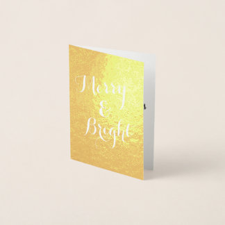 Vertical Merry and Bright Gold Christmas Foil Card