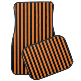Vertical Orange and Black Stripes Car Mat