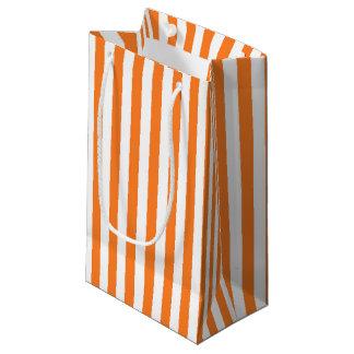 Vertical Orange and White Stripes Small Gift Bag
