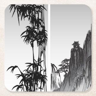Vertical Oriental Scroll Square Paper Coaster