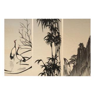 Vertical Oriental Scroll Wood Wall Decor