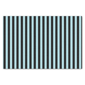 Vertical Pastel Blue and Black Stripes Tissue Paper