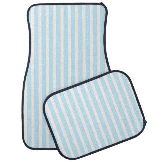 Vertical Pastel Blue and White Stripes Car Mat