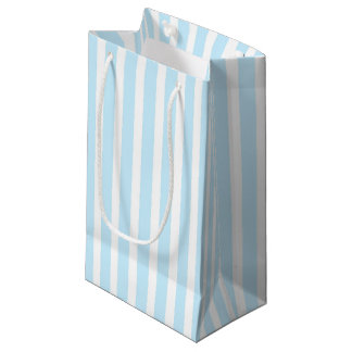 Vertical Pastel Blue and White Stripes Small Gift Bag