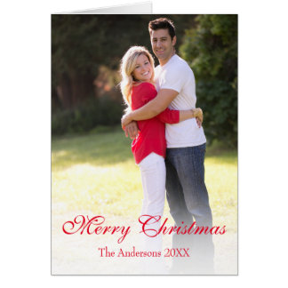 Vertical Photo Traditional Merry Christmas Card