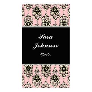 Vertical pink damask classy elegant Business card