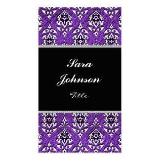 Vertical purple damask  elegant Business card