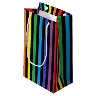 Vertical Rainbow and Black Stripes Small Gift Bag