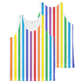 Vertical Rainbow and White Stripes All-Over Print Tank Top