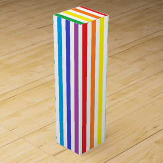Vertical Rainbow and White Stripes Wine Gift Box