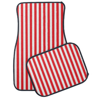 Vertical Red and White Stripes Car Mat