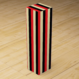 Vertical Red, Beige and Black Stripes Wine Gift Box