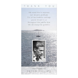Vertical Seascape Photo frame Sympathy Thank You Personalized Photo Card