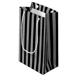 Vertical Silver and Black Stripes Small Gift Bag
