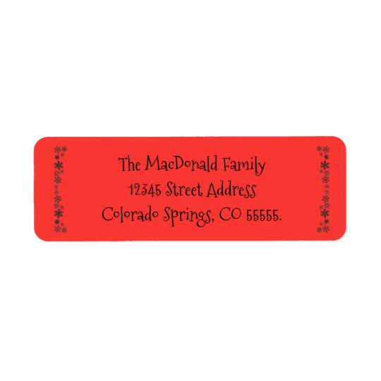 Vertical Snowflakes Red - Return Address Label
