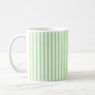 Vertical Soft Green and White Stripes Coffee Mug