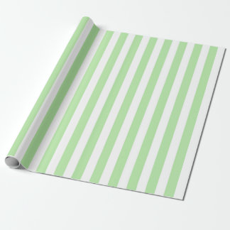 Vertical Soft Green and White Stripes Wrapping Paper