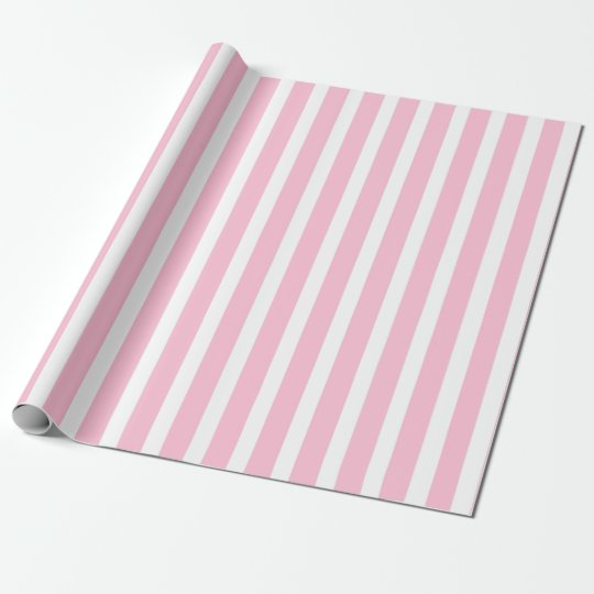 Vertical Soft Pink and White Stripes Wrapping Paper