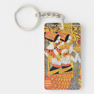 Vertical Song oriental egyptian ladies woman girls Double-Sided Rectangular Acrylic Key Ring