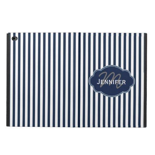 Vertical Stripe Navy/White Personalised iPad Case