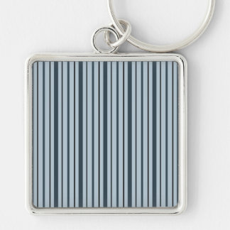 Vertical Stripes 1 - Blue Key Chains