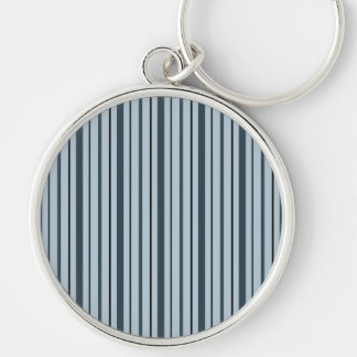 Vertical Stripes 1 - Blue Silver-Colored Round Key Ring