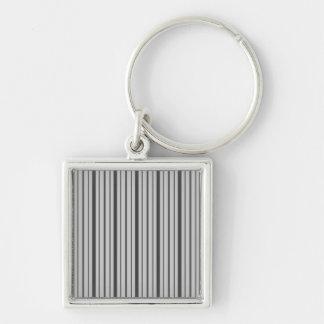 Vertical Stripes 1 - Grey B&W Key Chains