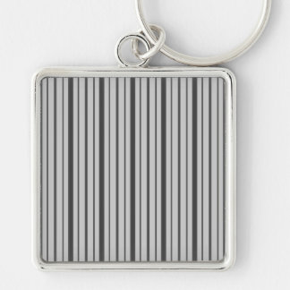 Vertical Stripes 1 - Grey B W Keychain