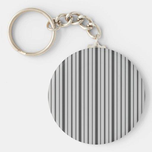 Vertical Stripes 1 - Grey B&W Key Chain