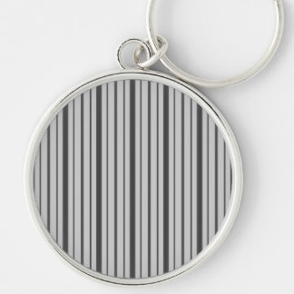 Vertical Stripes 1 - Grey B&W Silver-Colored Round Key Ring